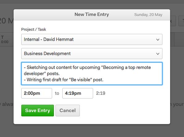 logging time in harvest app, dialog box showing detailed description