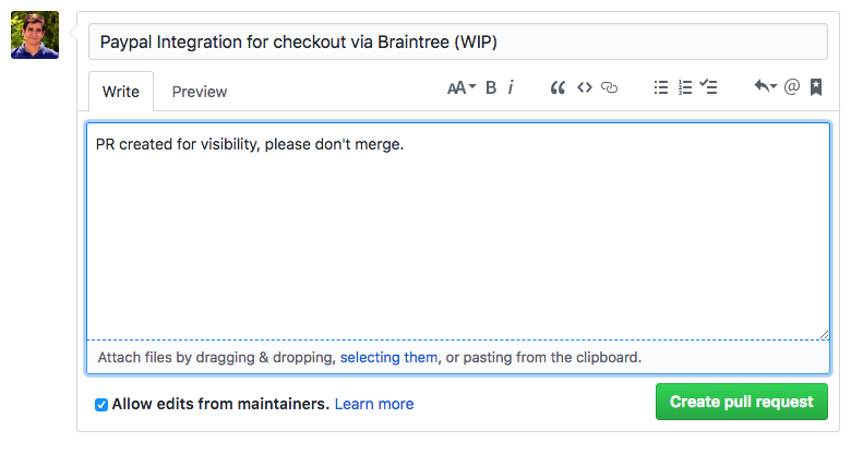 dialog box showing github comment