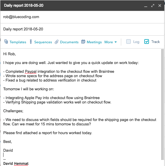screenshot showing an example of a detailed weekly update email