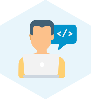Managed Nearshore Development Services icon showing a developer in front of a blue hexagon and coding icon in a speech balloon