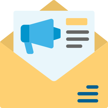 Manila envelope with a blue megaphone (Blue Coding's contact us form's icon)