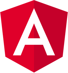 Hire Angular developers, a small white square showing the Angular logo