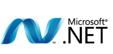 Hire .NETr developers, a small white square showing the .NET logo
