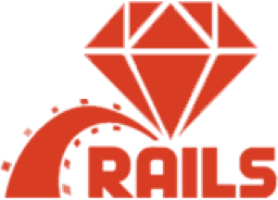 Hire Ruby on Rails developers, a small white square showing the Ruby on Rails logo