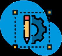 icon of half of a gear and a pencil representing design