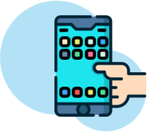 Mobile App Development, icon showing a hand holding a mobile device