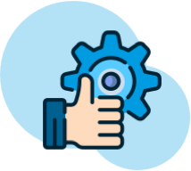 small icon with a gear and hand shoring thumbs up