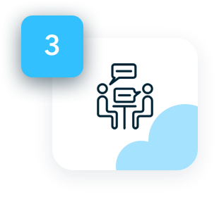 Meet your new developer - icon showing two figures talking