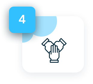 Start working with your developer - icon showing hands shaking