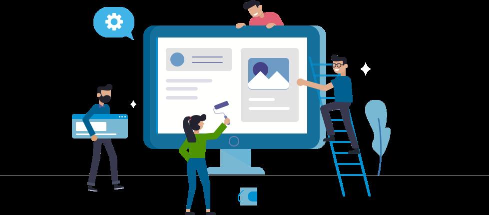 Software developers building a website